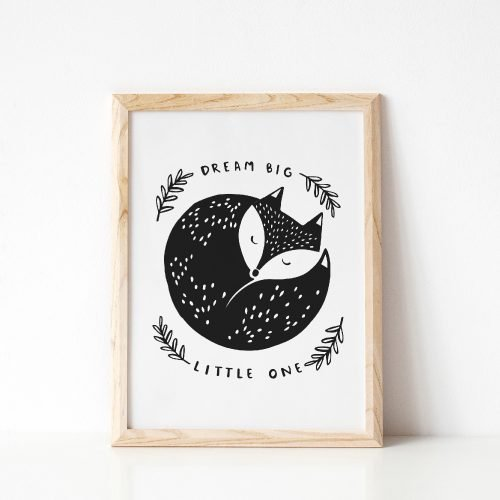 Under the Willow Print Co.Dream Big Little One Fox Print Kids Room Art Print Made in Ireland