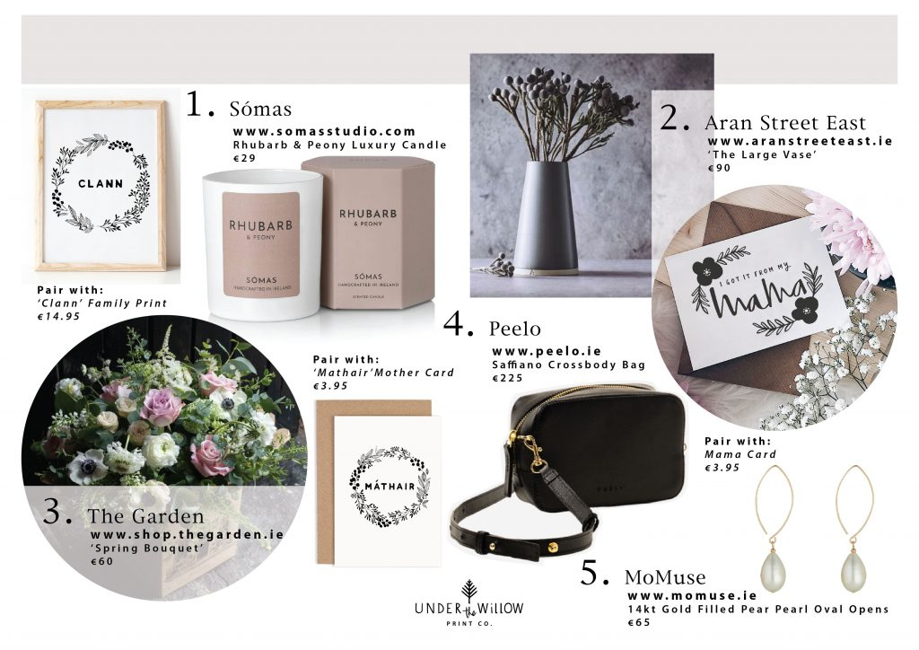 A selection of some of the best Irish made and homegrown brands to gift this mother's day.Perfectly paired with our collection of handmade cards for Mother's Day, Sunday 14th March.