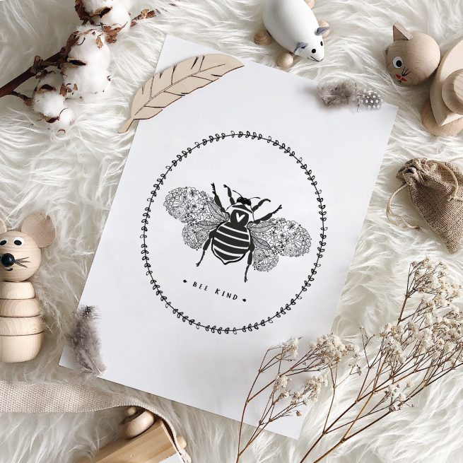 Under the Willow Print Co. Bee Kind Kids Room Art Print Made in Ireland
