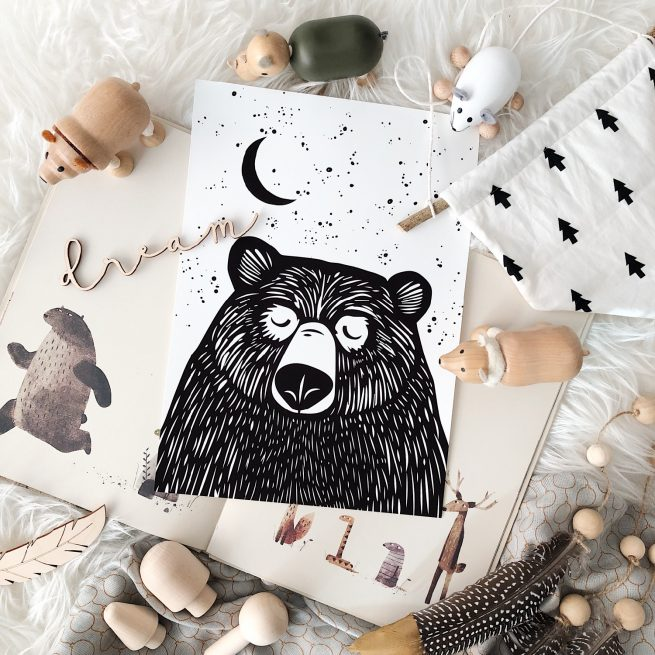 Under the Willow Print Co. Goodnight Bear Woodblock Print Kids Room Art Print Made in Ireland